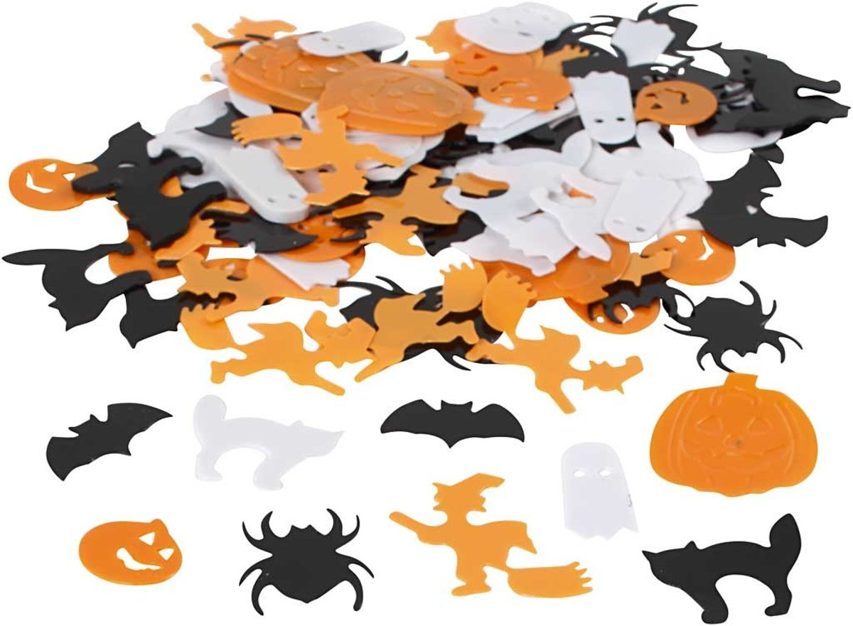 Pailletten, afm 10-20 mm, wit, oranje, zwart, Halloween, 15gr [HOB-521740]